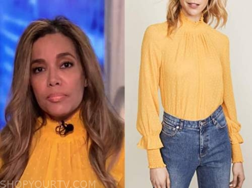 sunny hostin, the view, yellow dot mock neck top