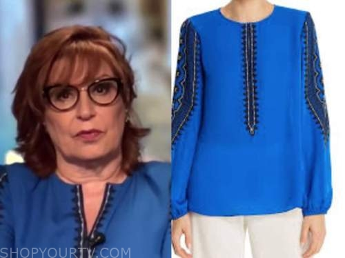 joy behar, the view, blue and black embroidered top