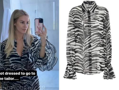 morgan stewart, E! news, zebra shirt