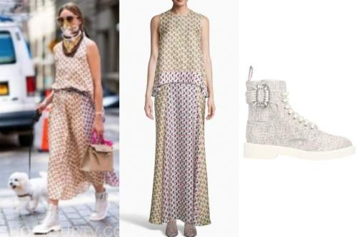 olivia palermo, printed top and skirt,