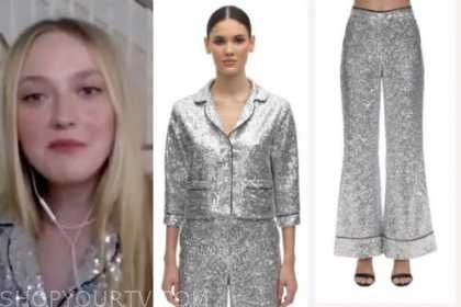 wwhl, dakota fanning, silver sequin top and pants