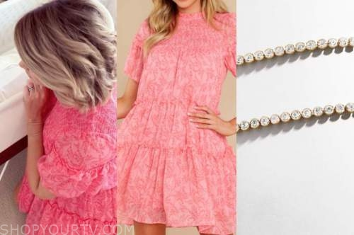 jenna cooper, pink floral dress, rhinestone bracelets