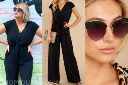 jenna cooper, black jumpsuit, sunglasses, the bachelor
