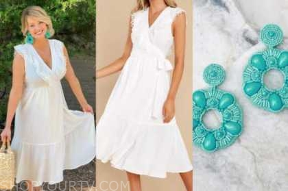 jenna cooper, white eyelet midi dress, blue beaded earrings, the bachelor