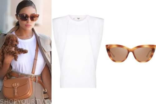 olivia culpo, white tee, sunglasses