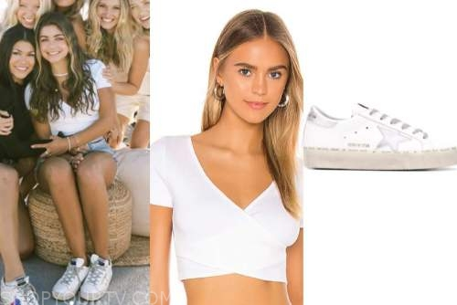 hannah ann sluss, the bachelor, white crop top, sneakers