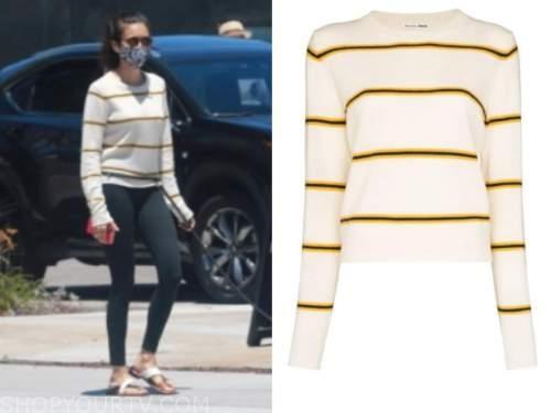nina dobrev, striped sweater