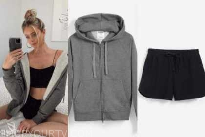 hannah godwin, the bachelor, grey hoodie, black shorts