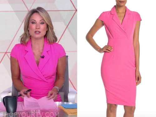 amy robach, hot pink blazer sheath dress, good morning america