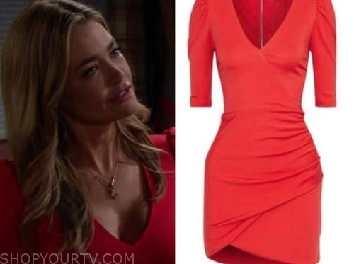 shauna fulton, the bold and the beautiful, red puff sleeve dress, denise richards
