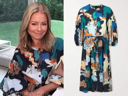 kelly ripa, printed dress, live with kelly and ryan