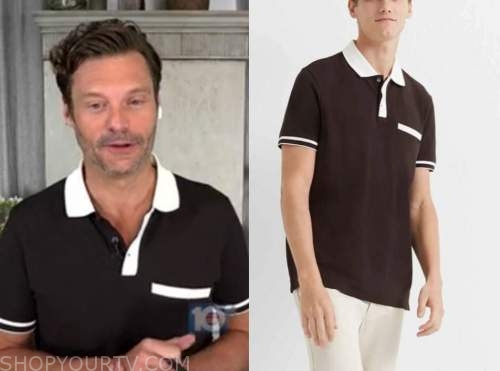 ryan seacrest, brown and white polo, live with kelly and ryan