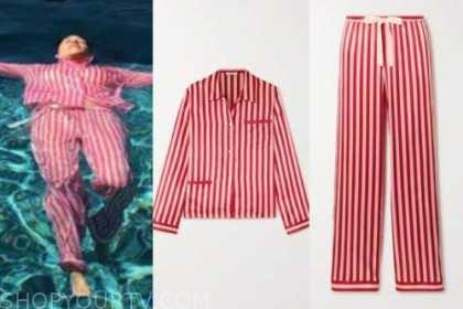kourtney kardashian, striped pajamas