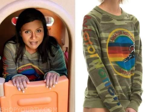 mindy kaling, camo sweater