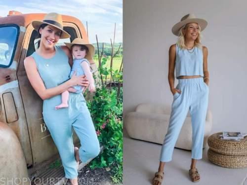 becca kufrin, the bachelorette, blue linen top and pants