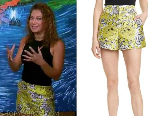 ginger zee, good morning america, yellow floral shorts