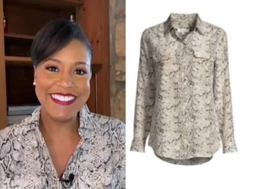 sheinelle jones, the today show, snakeskin shirt