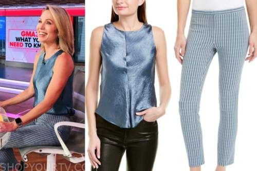 amy robach, good morning america, blue top and blue pants