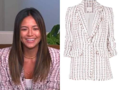 erin lim, E! news, daily pop, pink tweed blazer
