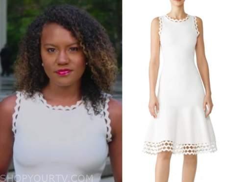 janai norman, good morning america, white scallop dress