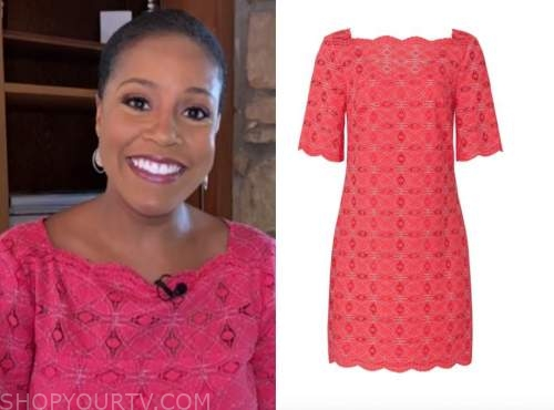 sheinelle jones, the today show, pink lace scallop dress
