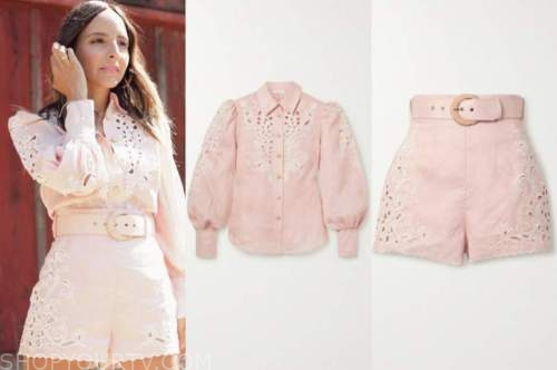 lilliana vazquez, E! news, blush pink blouse and shorts