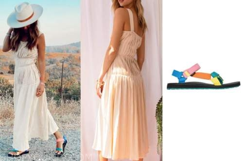 lilliana vazquez, beige pleated dress, rainbow sandals, e! news