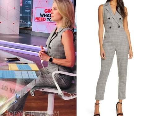 amy robach, good morning america, plaid double breasted jumpsuit