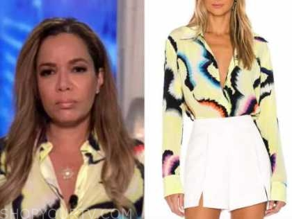 the view, sunny hostin, yellow abstract print shirt