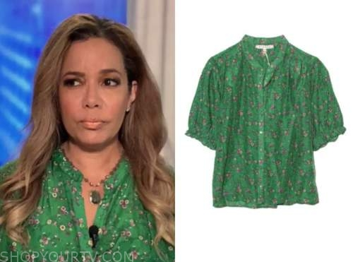 sunny hostin, the view, green floral top