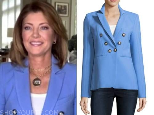 norah o'donnell, the talk, blue double breasted blazer