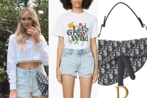 amanda stanton, the bachelor, denim shorts, logo bag