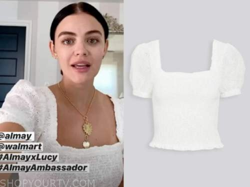 lucy hale, white puff sleeve top