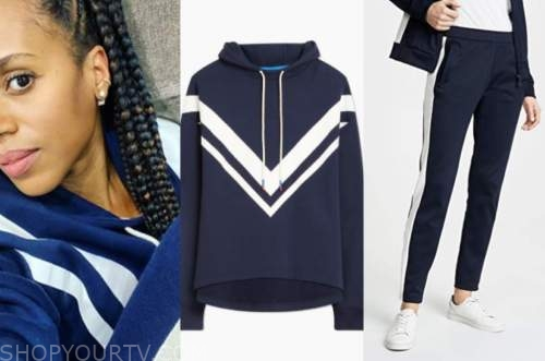 kerry washington, navy blue and white hoodie and track pants