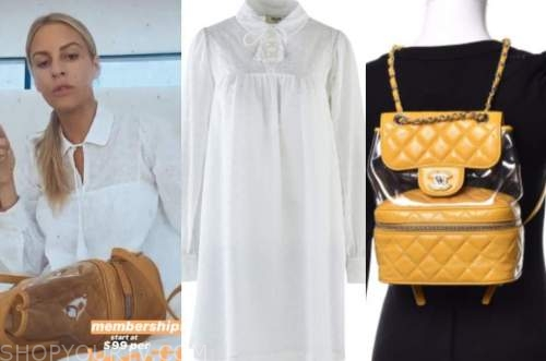 morgan stewart, E! news, white eyelet dress, yellow quilted bag