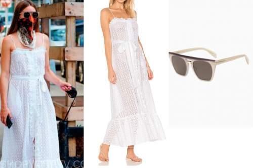 olivia palermo, white eyelet dress, sunglasses