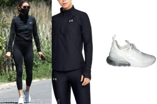 olivia palermo, black half zip top, white sneakers, sunglasses