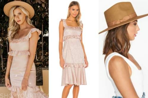 haley ferguson, the bachelor, pink dress, brown hat