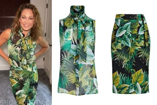 good morning america, ginger zee, green printed tie neck top and skirt