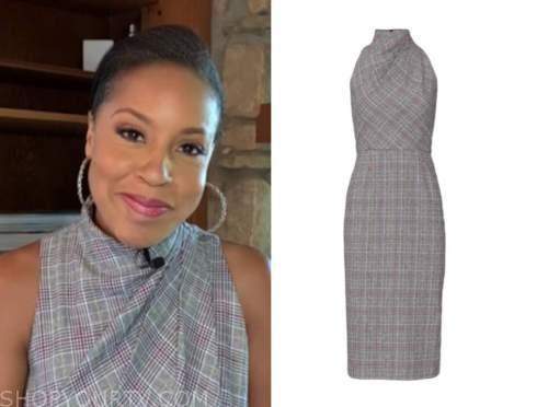 sheinelle jones, the today show, grey plaid dress