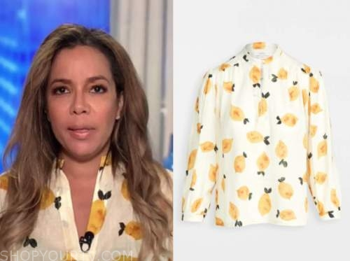 the view, sunny hostin, lemon print blouse