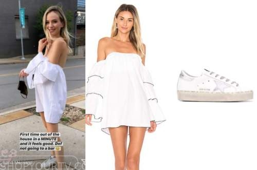 lauren Bushnell, the bachelor, white off-the-shoulder dress, sneakers