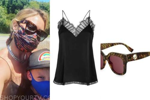 hilary duff, black camisole, fendi sunglasses