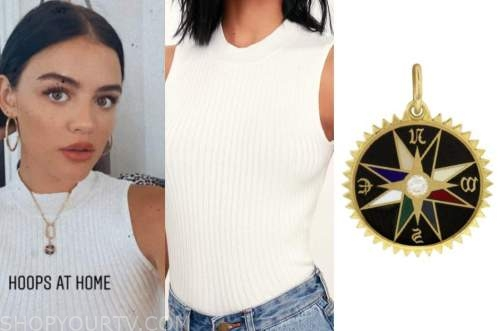 lucy hale, ivory mock neck top, black compass necklace