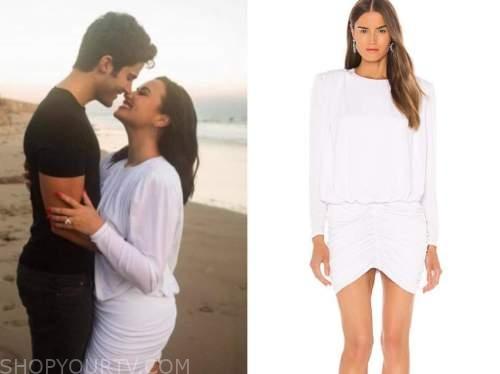demi lovato, white engagement dress