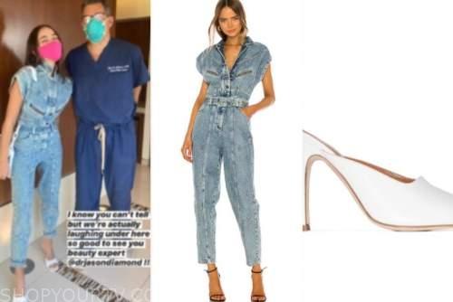 olivia culpo, denim jumpsuit, white heels