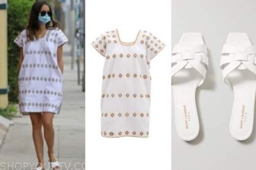 ana de armas, white embroidered dress, white sandals