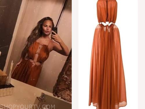 chrissy teigen, rust orange cutout dress