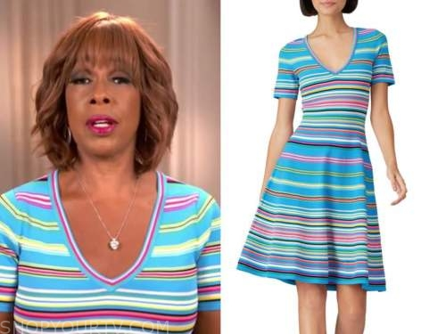 gayle king, cbs this morning, blue stripe knit dress