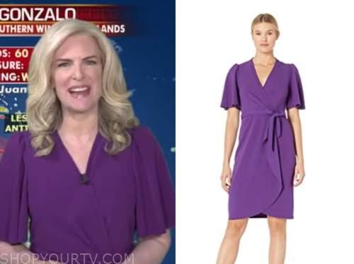 janice dean, fox and friends, purple wrap dress